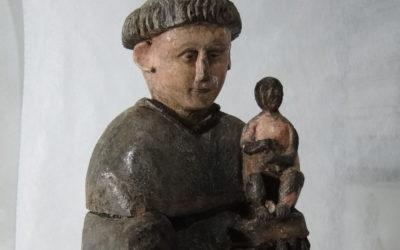 Sculpture de Saint Maurice en bois polychrome, Saint Etienne, Auvergne-Rhône-Alpes, Loire (42)